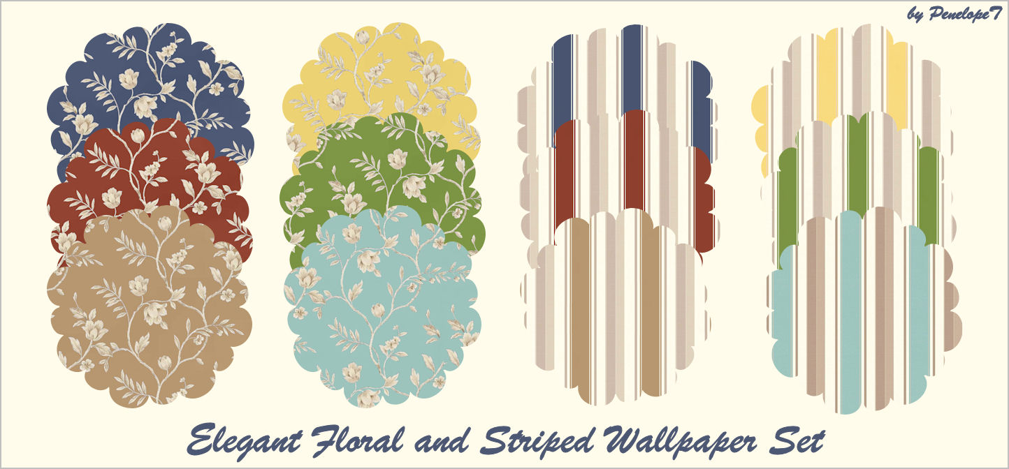 Mod The Sims Elegant Floral And Striped Wallpaper Set