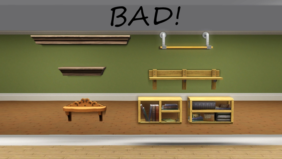 mod the sims - shelves + extras shift & hide with walls down 3 Wall Shelves