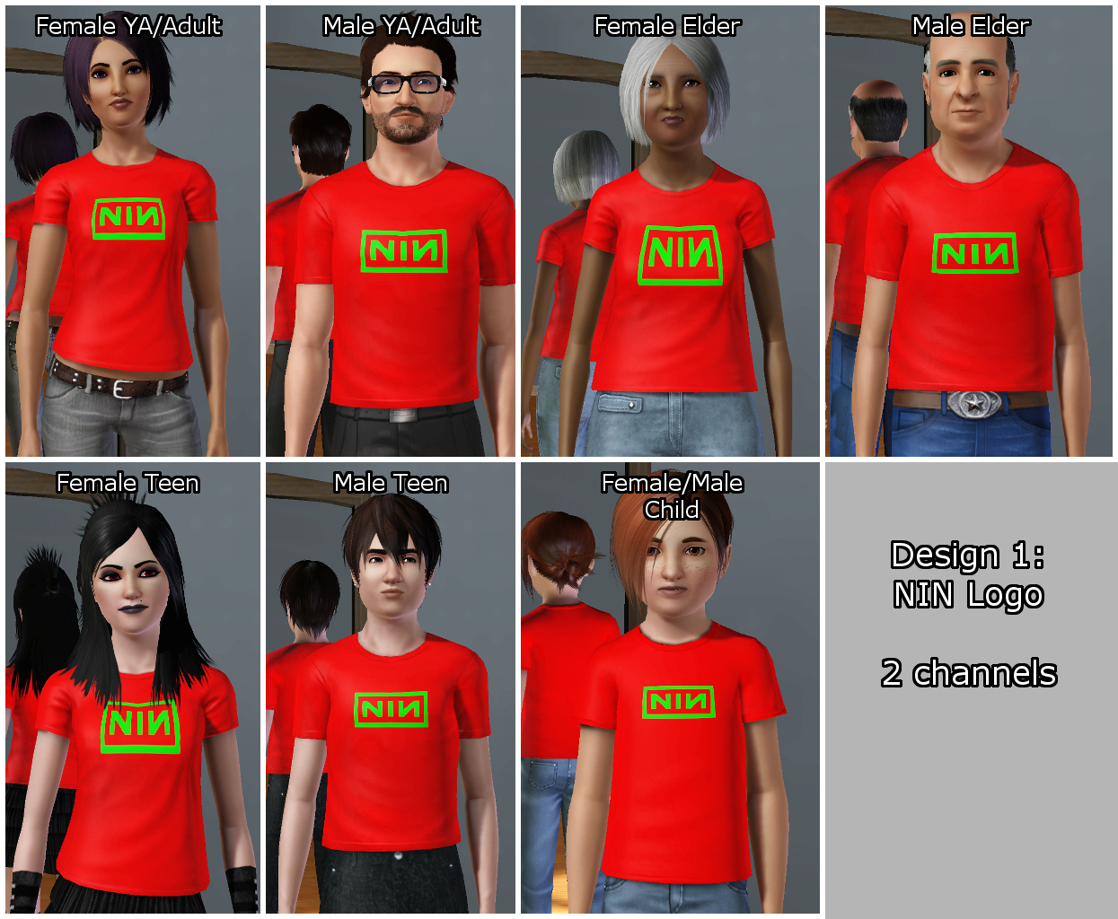 Mod The Sims Nine Inch Nails Shirts Available For Child To Elder Both Genders