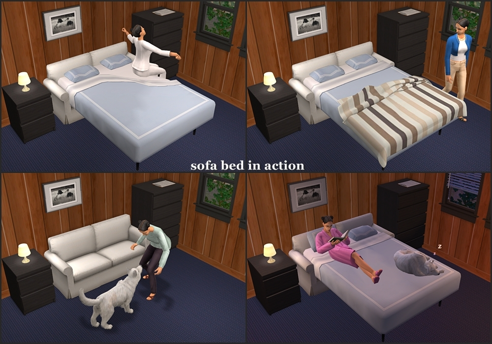 Mod The Sims Functional Sofa Bed And Chair Bed Ikea Ektorp