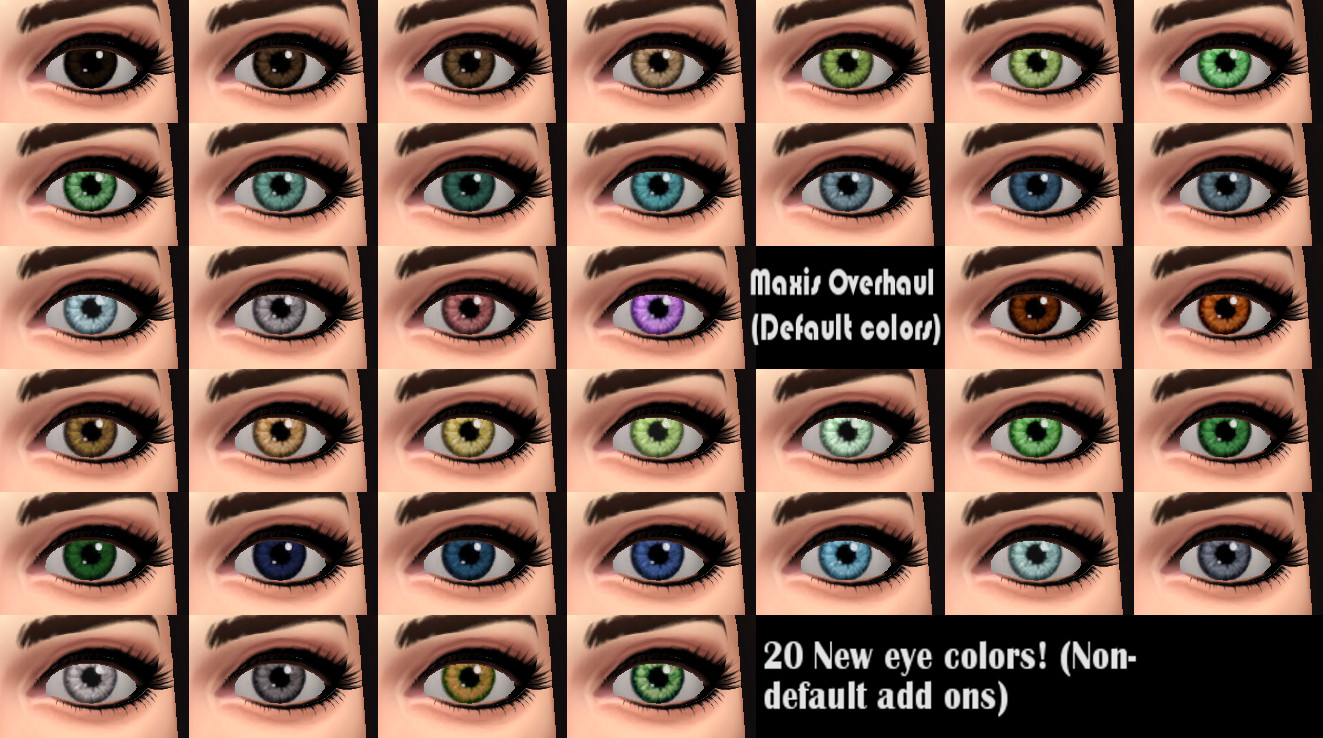 Mod The Sims More Realistic Looking Eye Colors Default And Non Default