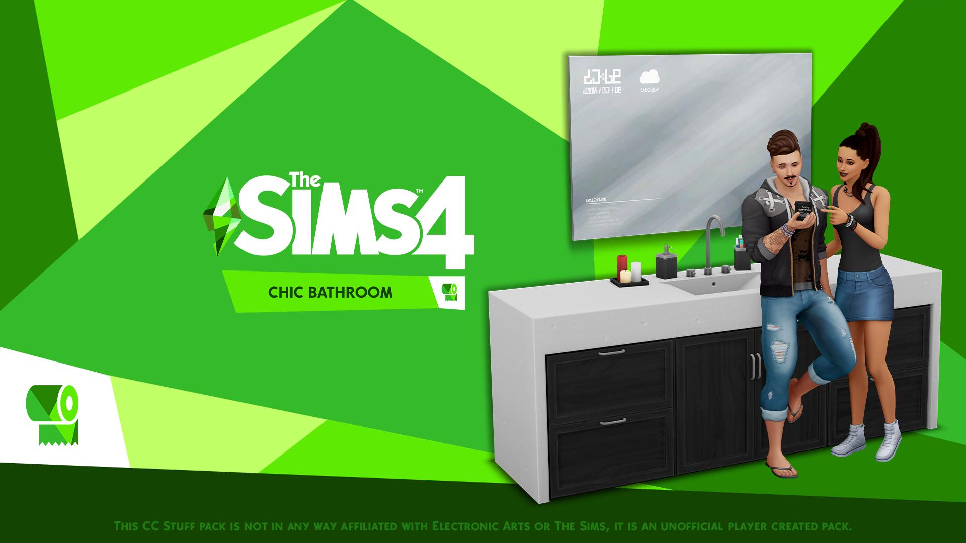 Mod The Sims   The Sims 20 Chic Bathroom   Custom Stuff Pack